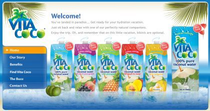 'Vita Coco' website featuring Madonna