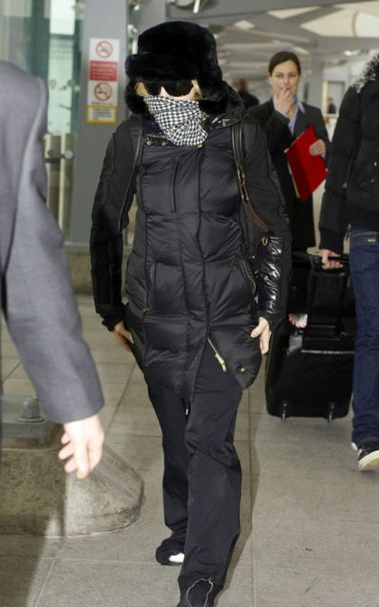Madonna arrives in London from New York on January 26, 2010