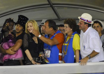 Madonna at Sapucai attending the Carnival in Rio, Brazil on February 14, 2010