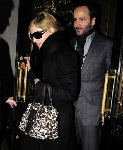 Madonna dines with director Tom Ford in London on January 26, 2010