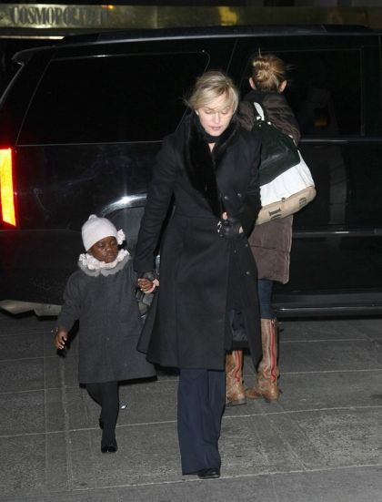 Madonna with kids at the Kabbalah Center in New York on February 5, 2010