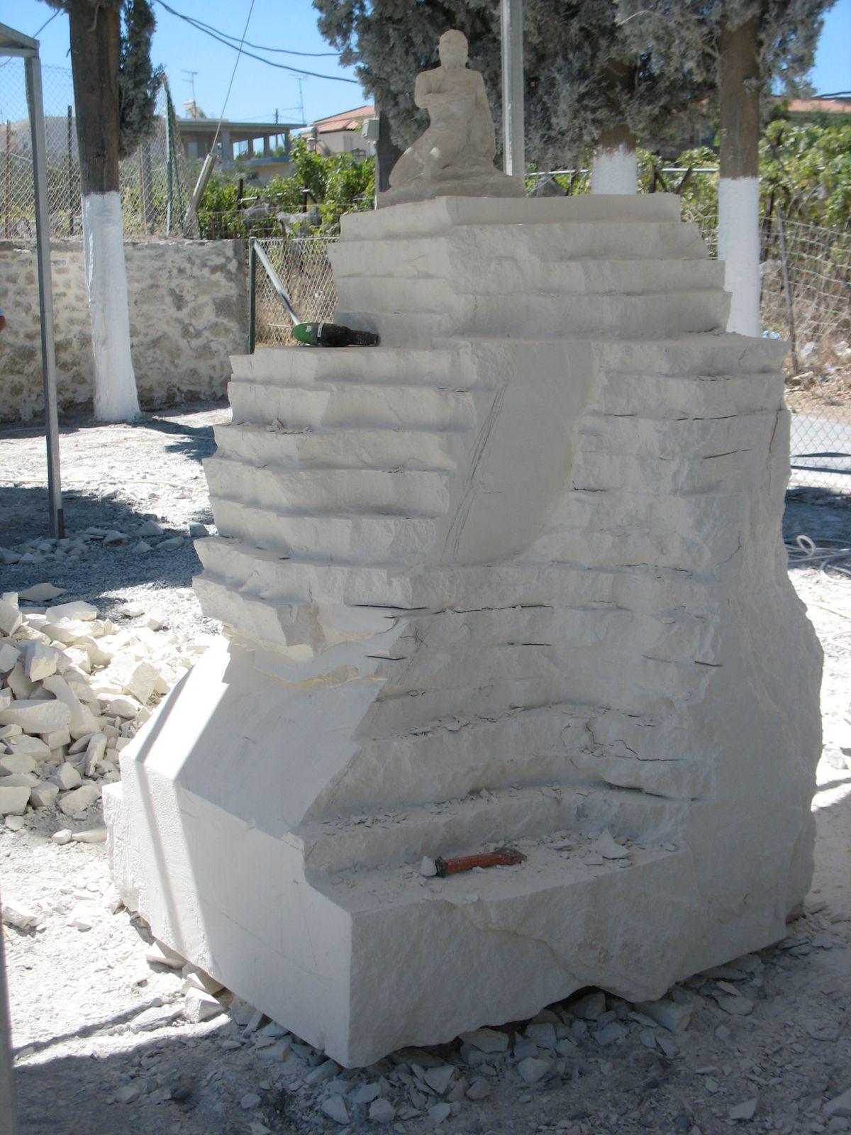 symposium de sculpture sur pierre à Paliani, Crète.