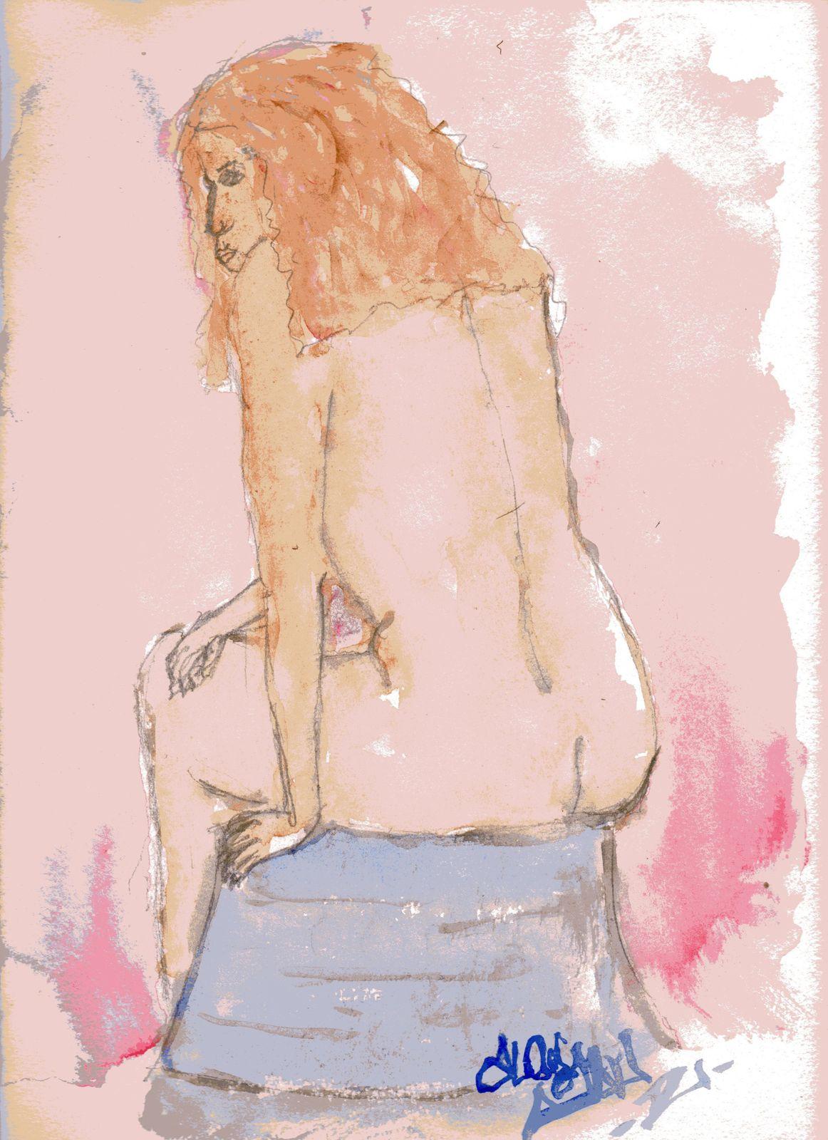 aquarelle nu féminin assis de dos