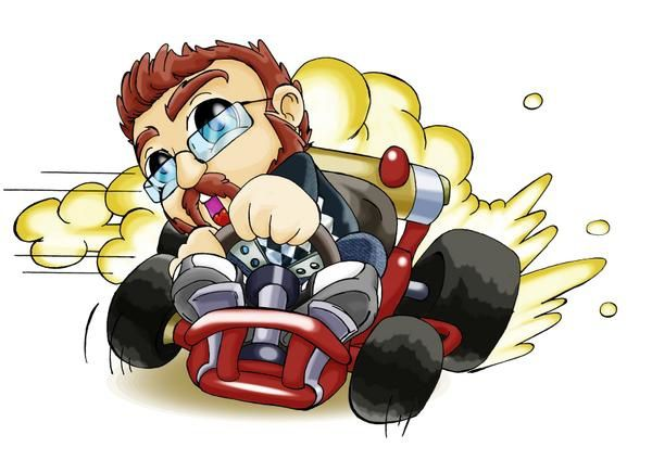 dessin poppo jouant à mario kart wii drawing playing