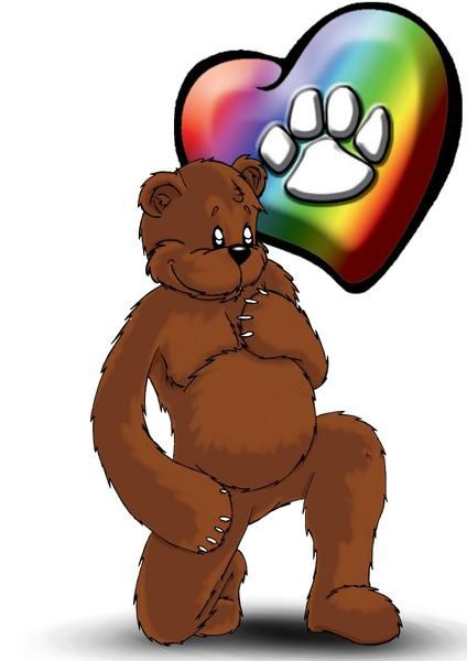dessin drawing gay bear ours main sur le coeur rainbow heart