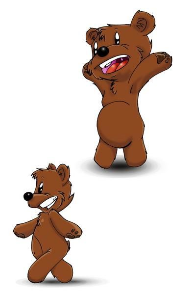 dessin drawing bear cub ourson happy joyeux