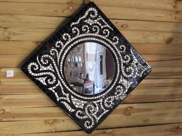 Miroir 60cm 60cm mamosa - Miroir noir et blanc ...
