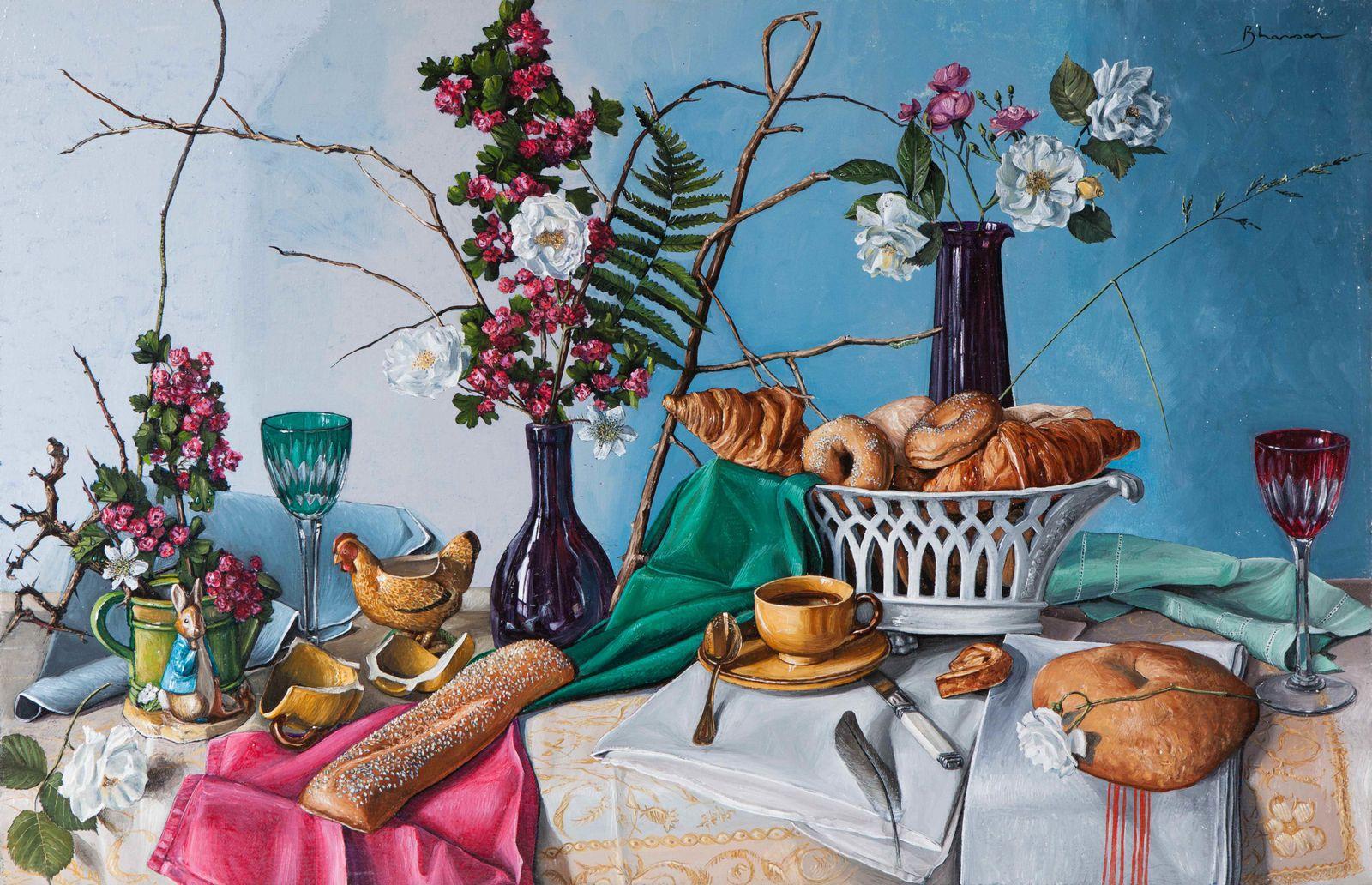 """Composées à l'atelier, opposant formes, matières et couleurs, j'ai beaucoup de joie à peindre ces """"vies silencieuses/still life"""" avec la maitrise du métier et dans la lignée des maitres dont je possède les secrets."""