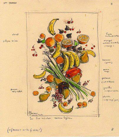 Etude Nature Morte de fruit gouache 25X22 (5)