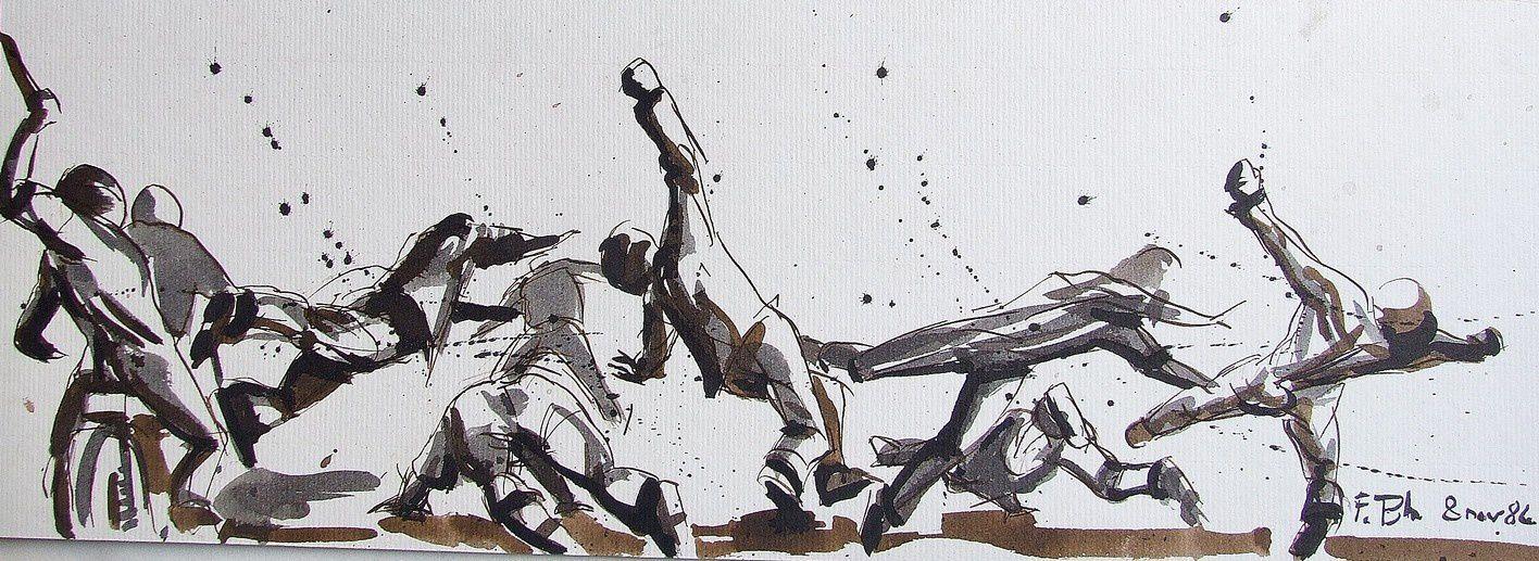 La charge 2 Etude Lavis sépia 22X42 1984 (2)