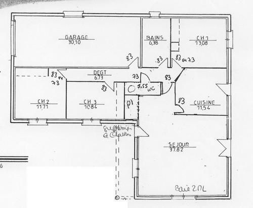 Plans de base du terrain et de la maison construction for Garage petit mars