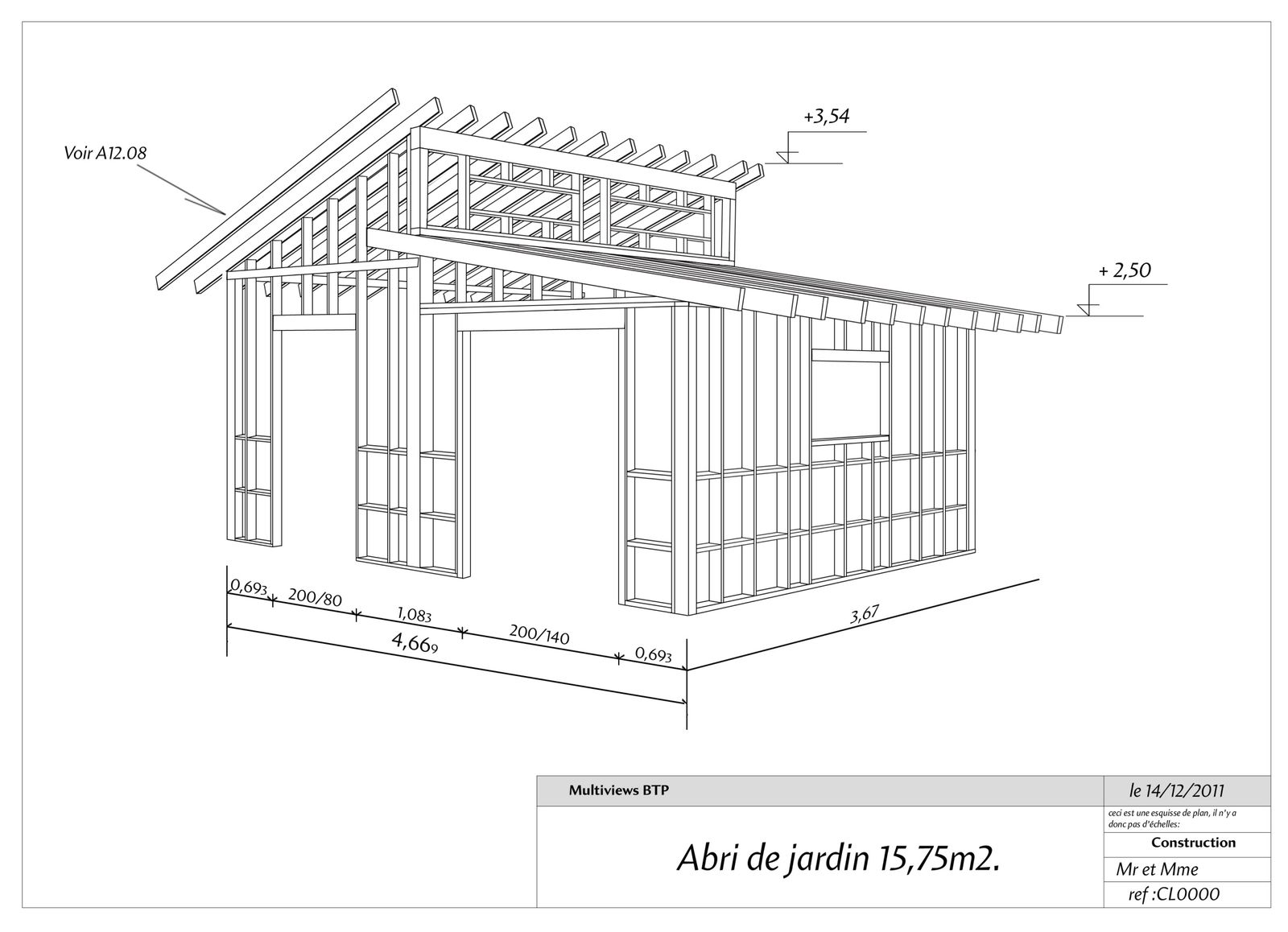 Plan abri de jardin - Multiviews BTP