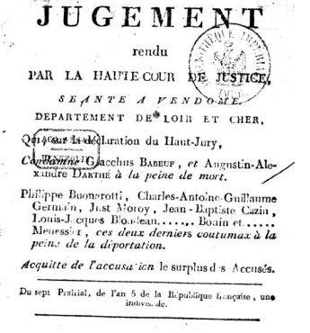 Jugement condamnation à mort de Gracchus Babeuf
