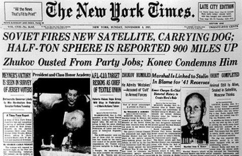 Laïka dans l'espace : la une du New Yok Times
