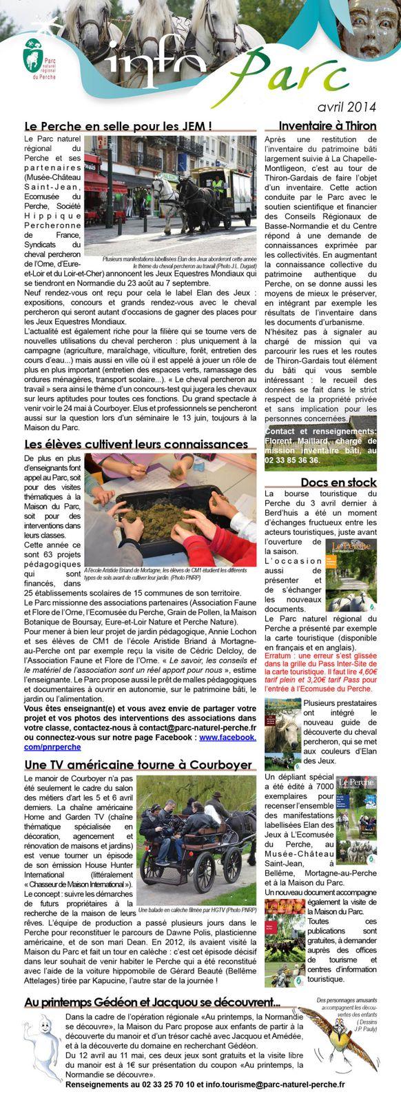 Lettre info Parc du Perche - avril 2014