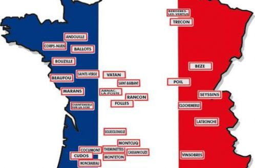 Carte de france noms burlesques