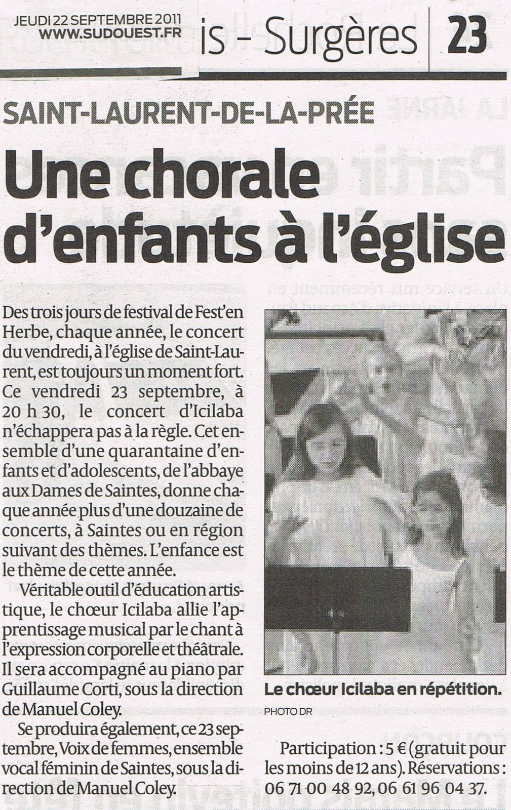 art.SO du 22 sept. 2011. Une chorale d'enfants