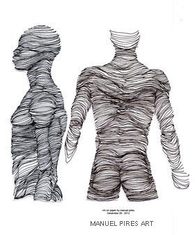 MANUEL PIRES ART human topography ink on paper