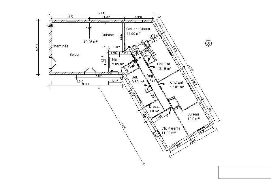 Plans et conception de la maison les perrin for Plan interieur de maison en l