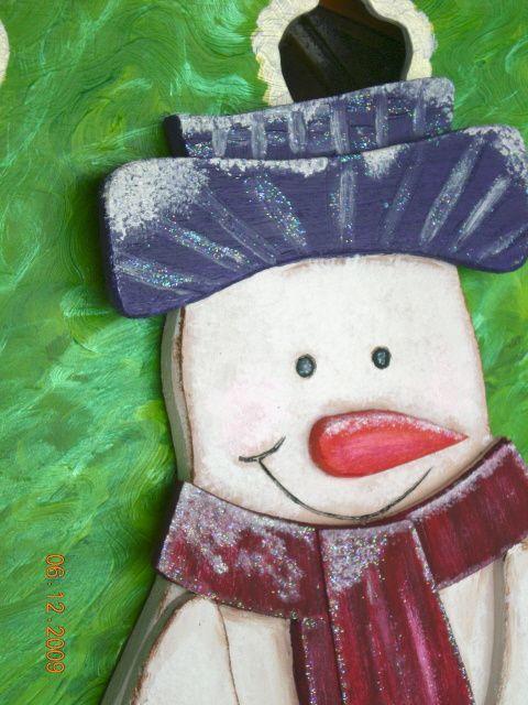 Peinture sur bois le blog de viviane kosciuszko imbrenda - Bonhomme de neige en bois ...