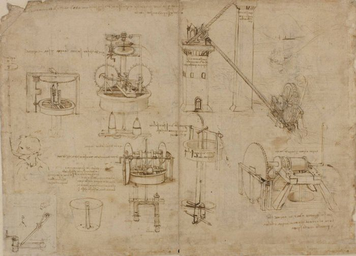 Léonard de Vinci, Machines hydrauliques, Codex Atlanticus,