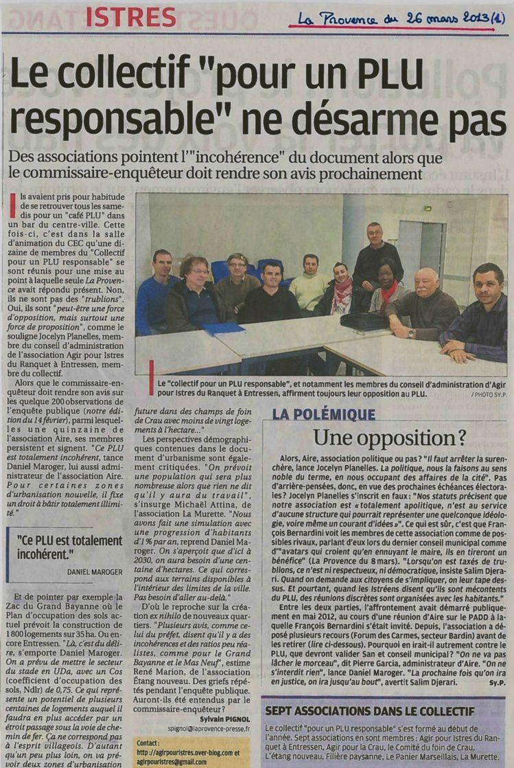 Article La Provence- AIRE face au PLU-26-03-13