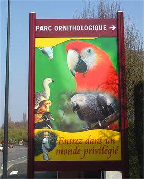 Parc ornithologique de Bretagne, panneau de signalisation