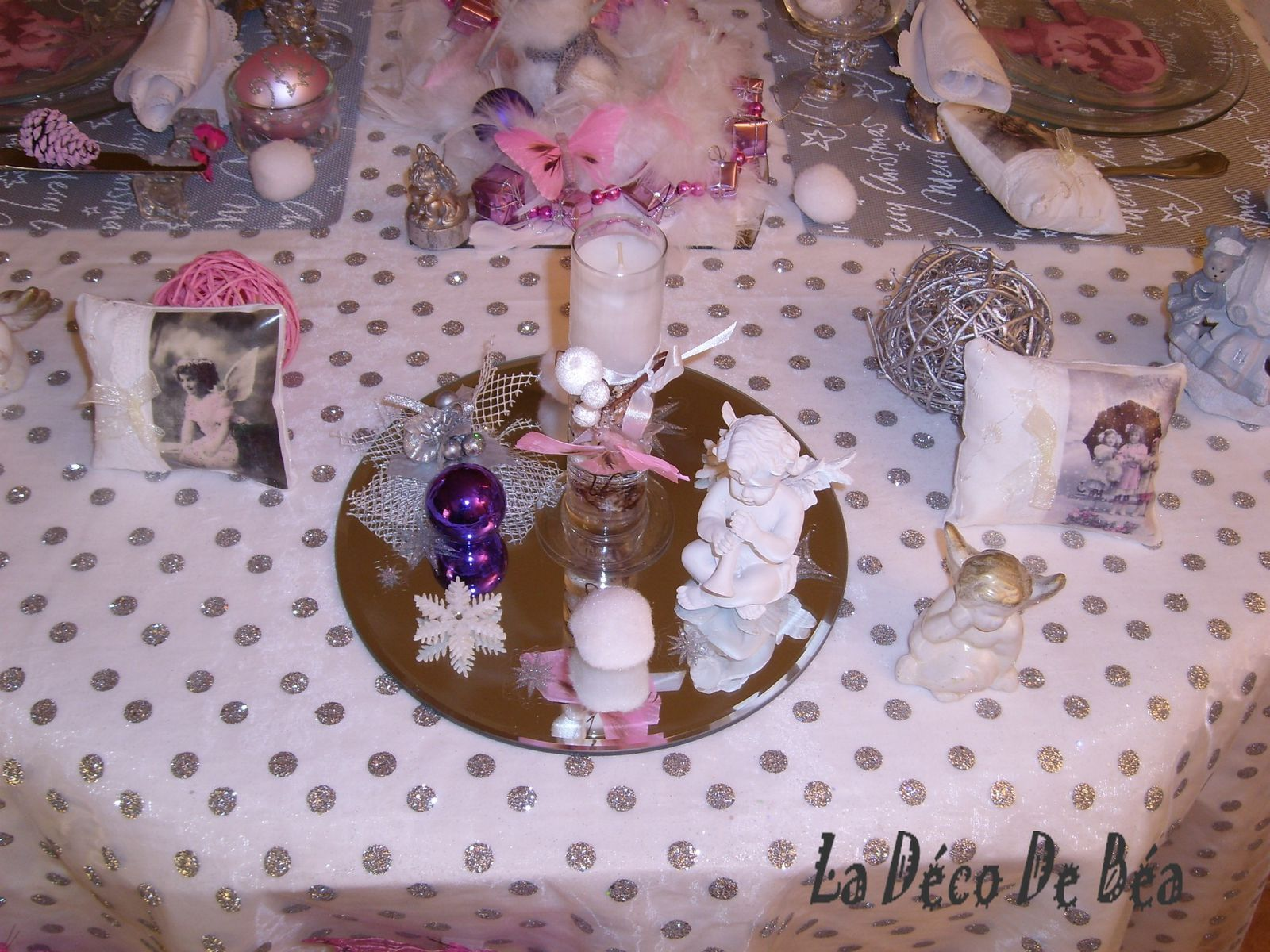 No l d 39 anges et de papillons deco de tables plats - Centre de table noel fait maison ...