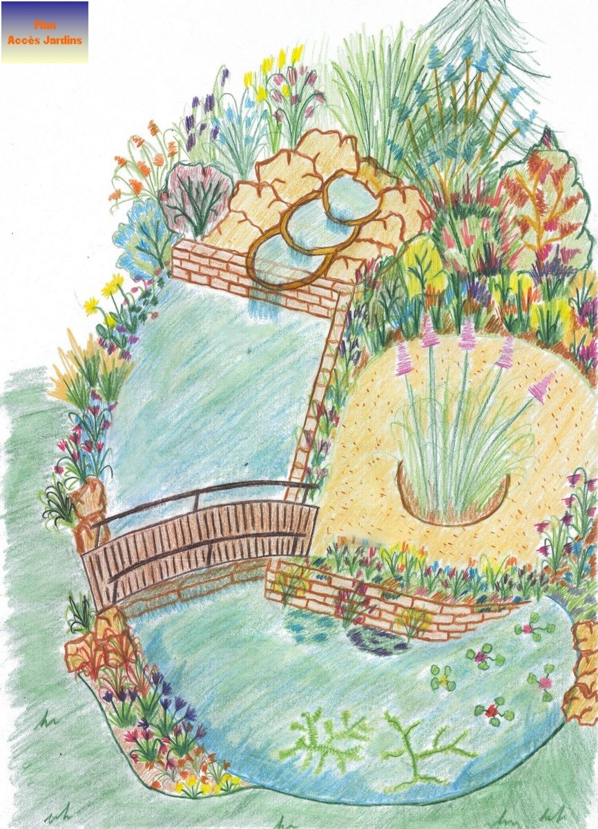 Album plans et schemas jardin paysagiste conception for Modele de bassin de jardin