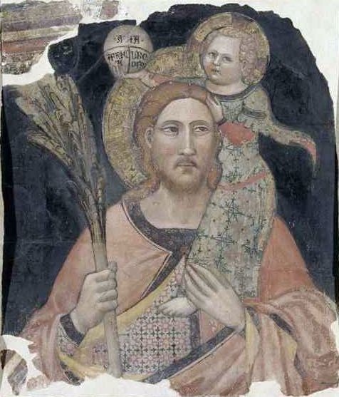 Saint Christophe avant restauration, Tommaso del Mazza (14e