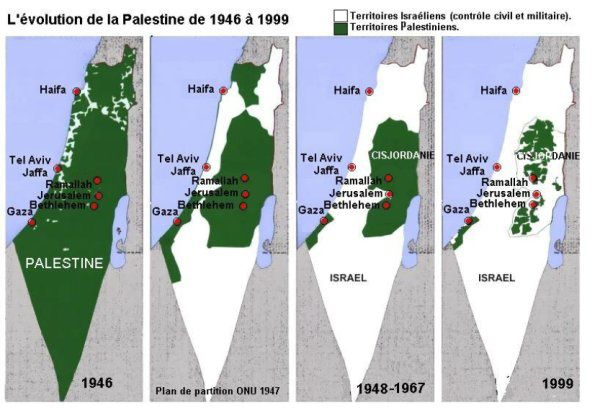 cartes israel raye Palestine