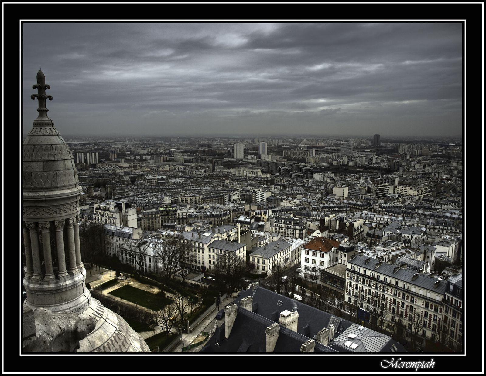 Paris sous nuages depuis coupole Sacré Coeur Montmartre HDR Photomatix