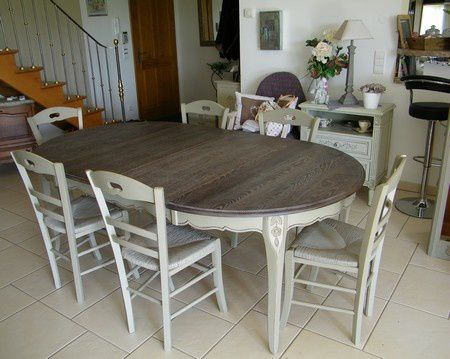 Meubles de style normand en ch ne peints atelier de l for Peindre une table basse