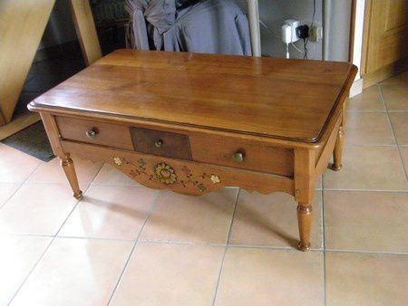 table basse merisier avant relooke