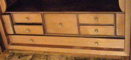 tiroirs secrets et eclat placage secretaire ancien