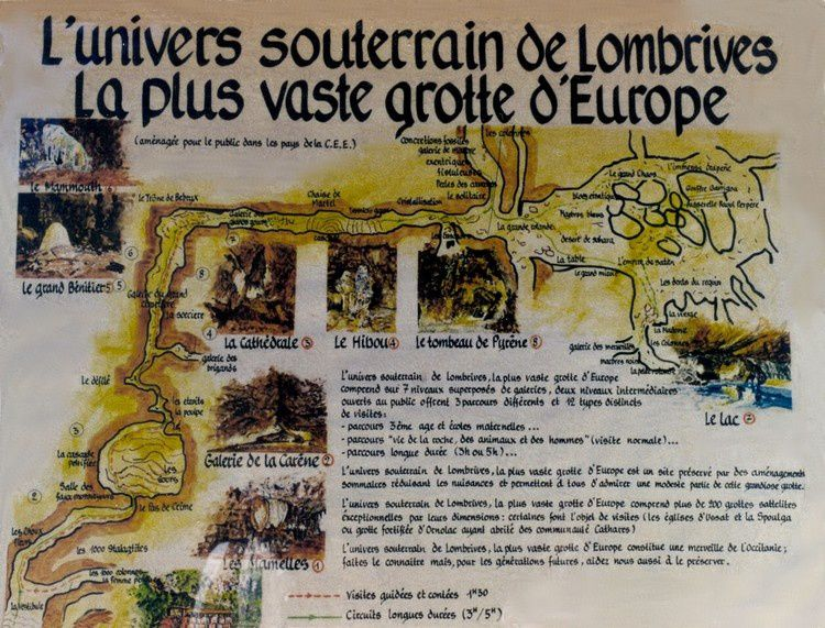 Carte grotte de Lombrives