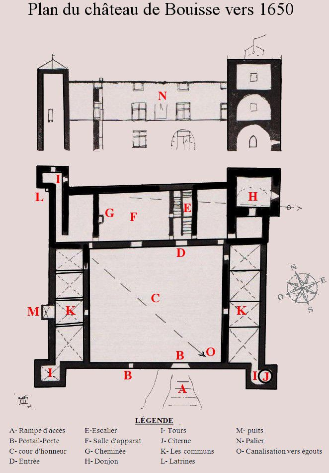 plan coupe du chateau de Bouisse vers 1650