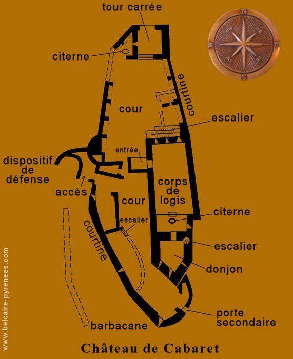 Lastours plan du Chateau Cabaret