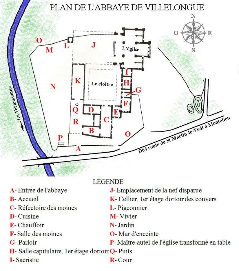 plan de l'abbaye de Villelongue