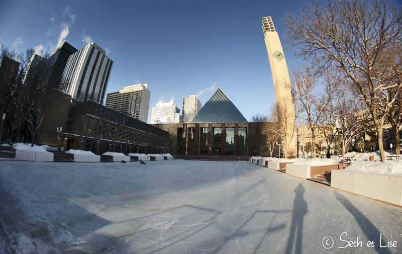 blog voyage canada photo pvt edmonton alberta glace patinoire rink ice downtown
