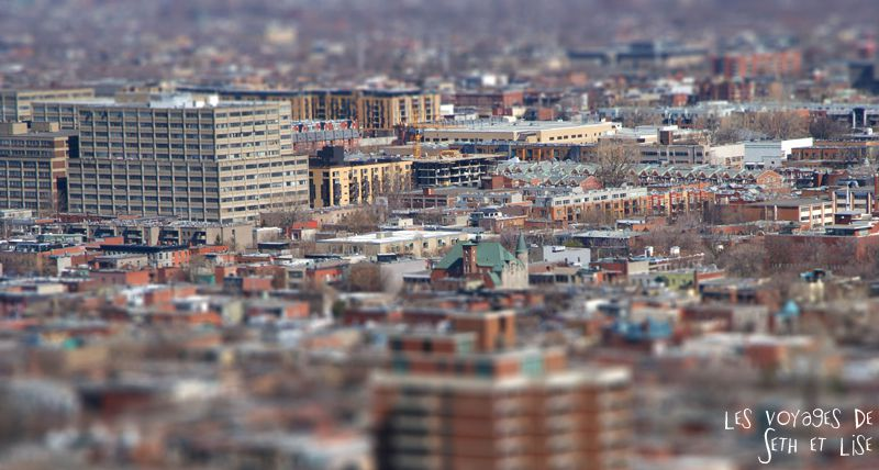 blog voyage canada montreal vue mont royal tilt shift