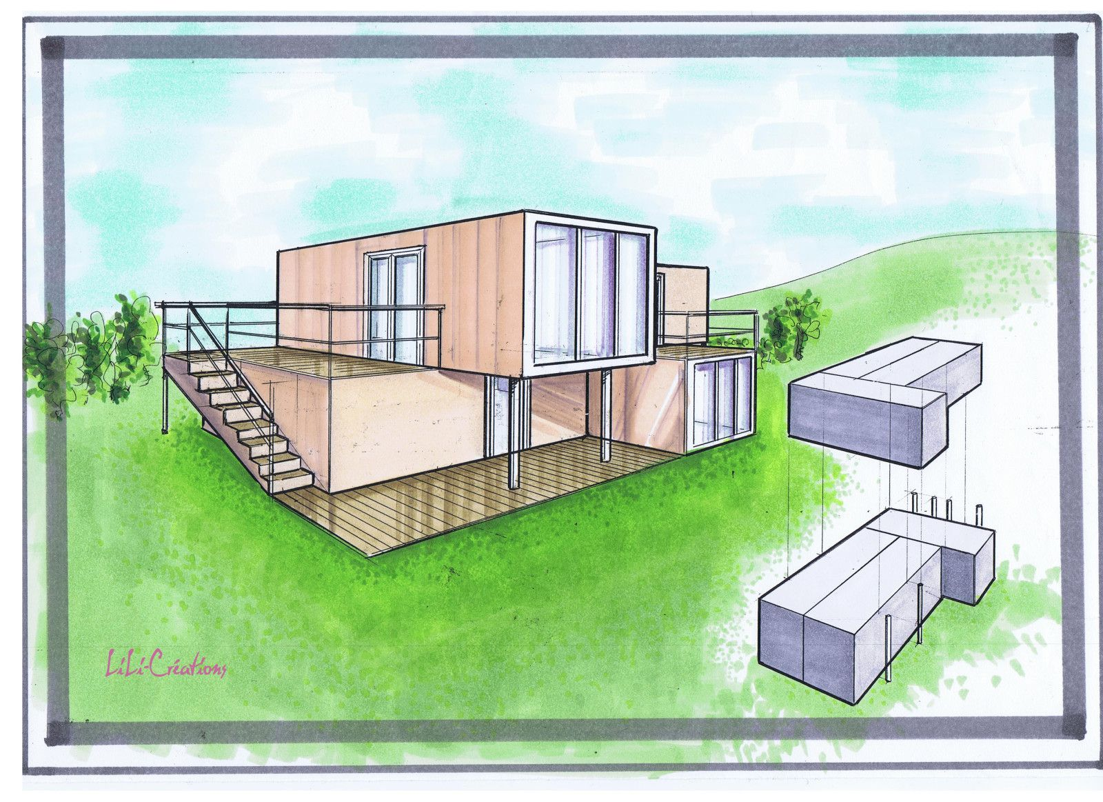 Plan interieur maison container for Maison container 44