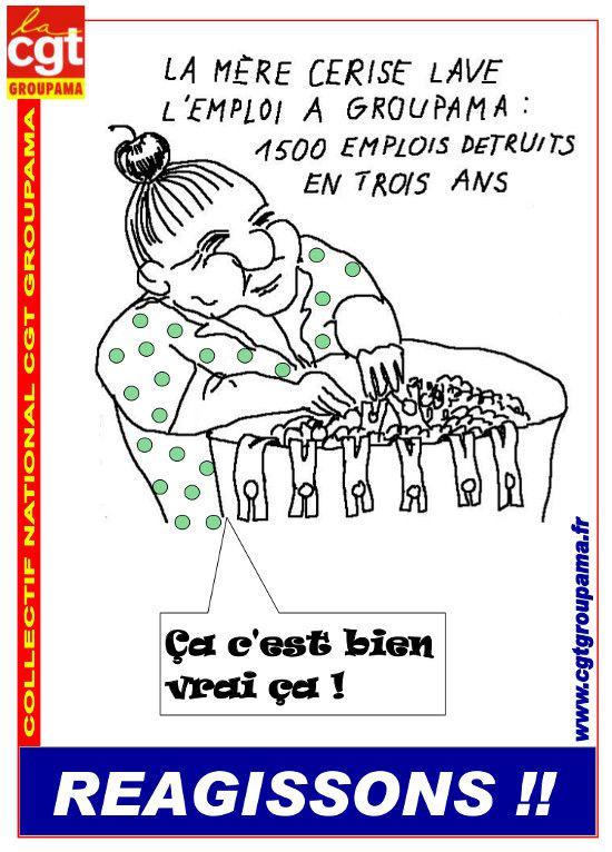 Visu affiche CGT - Mère cerise lave l'emploi à Groupama v
