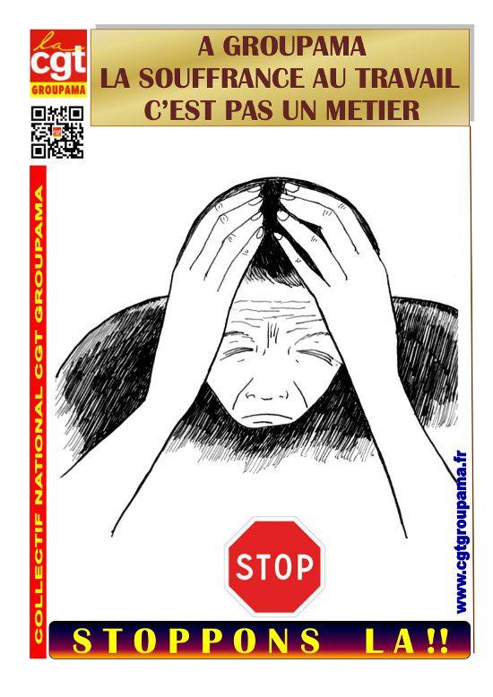 Visu affiche CGT la souffrance au travail c'est pas un mét