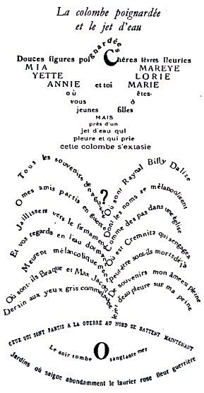 colombe poignardée Apollinaire calligramme