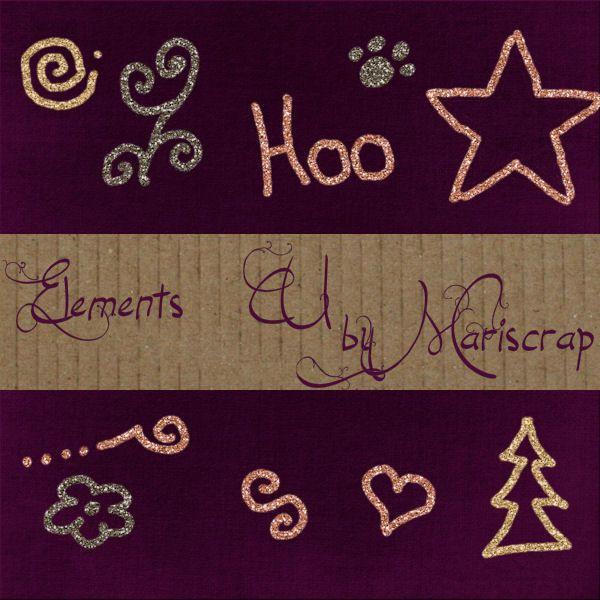 10 embellishements in glitters CU Prev_mariscrap