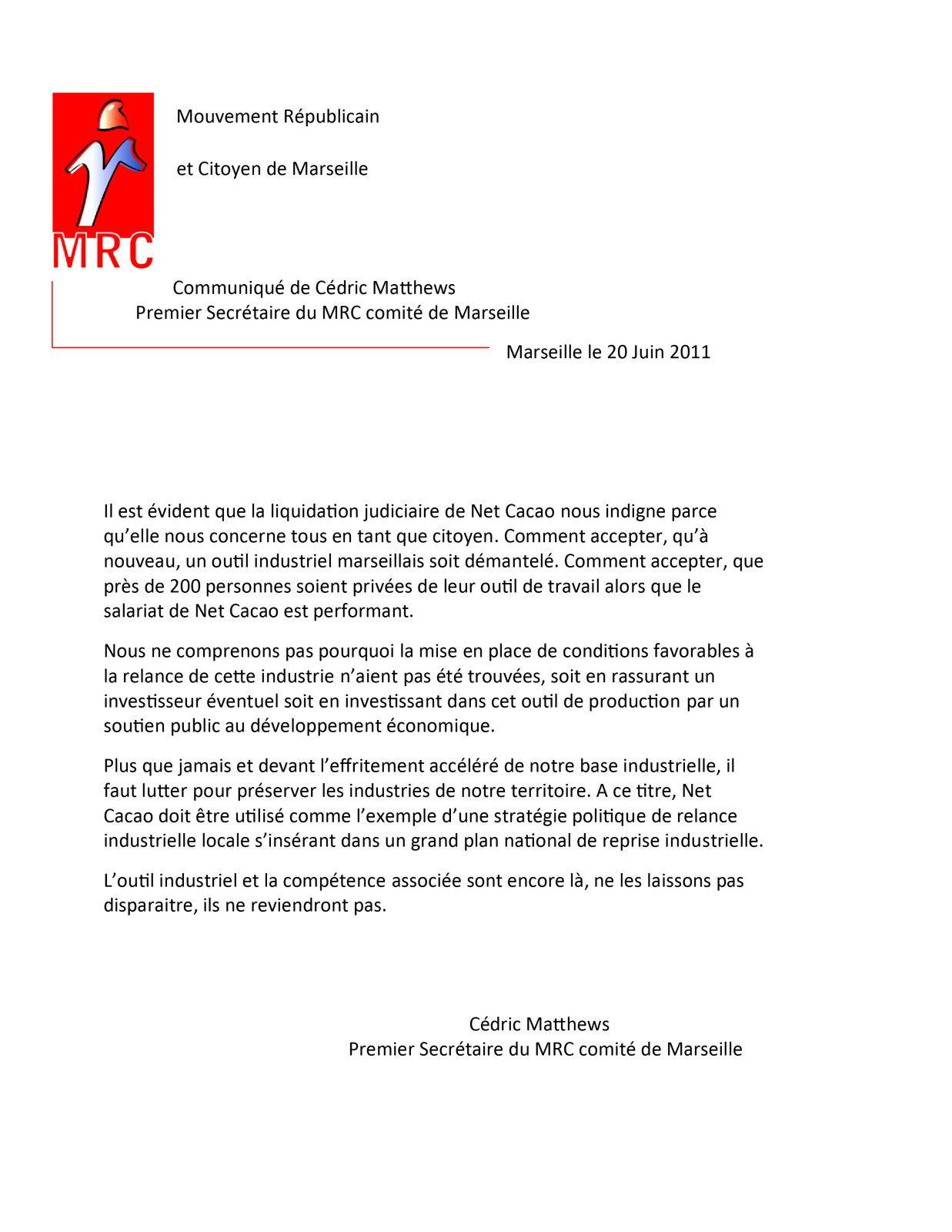 lettre communiquéMRC