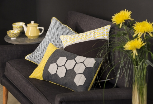 Cultura Yellow&grey-coussin