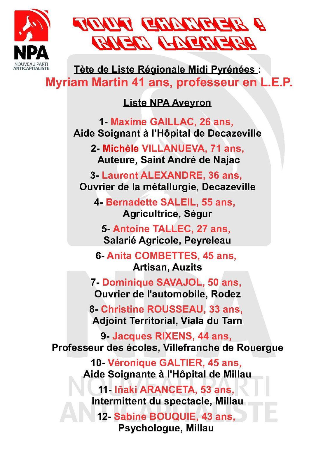 liste npa aveyron regionales 2010