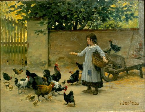 Edouard-DEBAT-PONSAN---Petite-fille-nourrissant-des-poules-